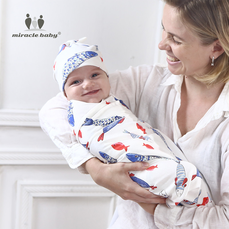 2 Pieces One Set Cotton Baby Swaddle Blanket +Hat Newborn Receiving Blanket New Autumn Baby Sleeping Bag Bath Towel Size 90*90cm