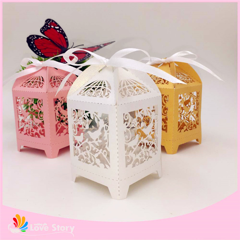 50pcs birdcage wedding favor box party candy box gift box for Wedding gift decoration
