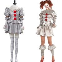 Pennywise Costume Women IT Stephen King It: Chapter Two Cosplay Pennywise Outfit Clown Joker Suit Halloween Costume Custom