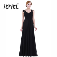 Women Ladies Sleeveless Floral Lace V Neck Clothes Chiffon Bridesmaid Weeding Dresses Long Evening Prom Party