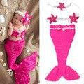 1 conjunto Sereia Princesa Bonito das Crianças Mão-de malha de Lã de Malha Bebê Infantil Foto Props Roupas Quatro Estações