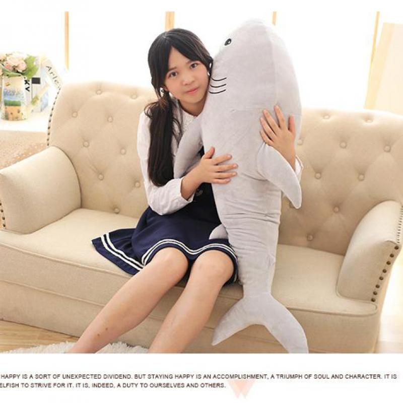 Nouveau 1 pièces 100 cm grande taille requin en peluche jouet la Simulation mignon requin doux Suffed animaux poupée oreiller enfants bébé jouet cadeaux de noël