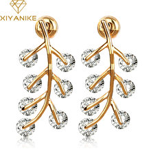 Luxury Zircon Earrings Shine AAA cubic zirconia bride wedding fashion Leaf earring Gold Silver Plated Brincos Pendientes E391(China)