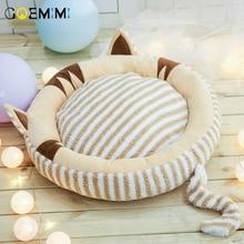 Warm Cat Bed House Round Fodable Dog Sleeping Mat Pad Nest Kennel Pet Cushion Puppy Shell Hiding Burger Bun for Winter