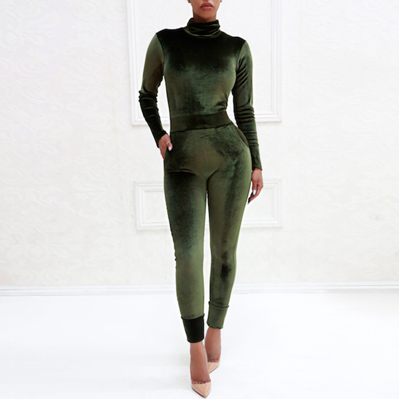 Women Role Play Jumpsuits Yoga Set Long Sleeves Slim