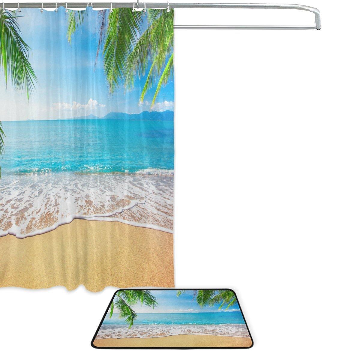 Garden Curtains Tropical Sea Beach Palm Tree Shower Curtain