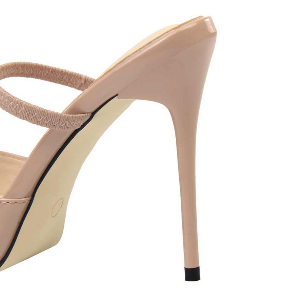 2019 Donne Estremo 12 centimetri Stiletto Alti Talloni Dei Sandali Della Signora Sexy Rosa Fetish Pompe Femminile Scarpins Tacchi Argento A Punta Muli scarpe