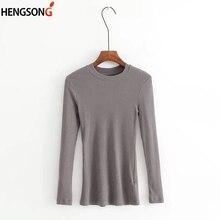 1b77825d7ecf Simple Solide Couleur T-shirt féminin Femmes Ras Du Cou Côtelé à manches  longues Slim