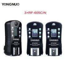 3 sztuk YONGNUO RF 605 bezprzewodowy wyzwalacz lampy błyskowej RF 605C RF605C RF605N RF 605N dla Canon Nikon wersja aktualizacji RF 603II