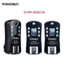 3pcs YONGNUO RF 605 Wireless Flash Trigger RF 605C RF605C RF605N RF 605N  for Canon Nikon upgrade version of RF 603II