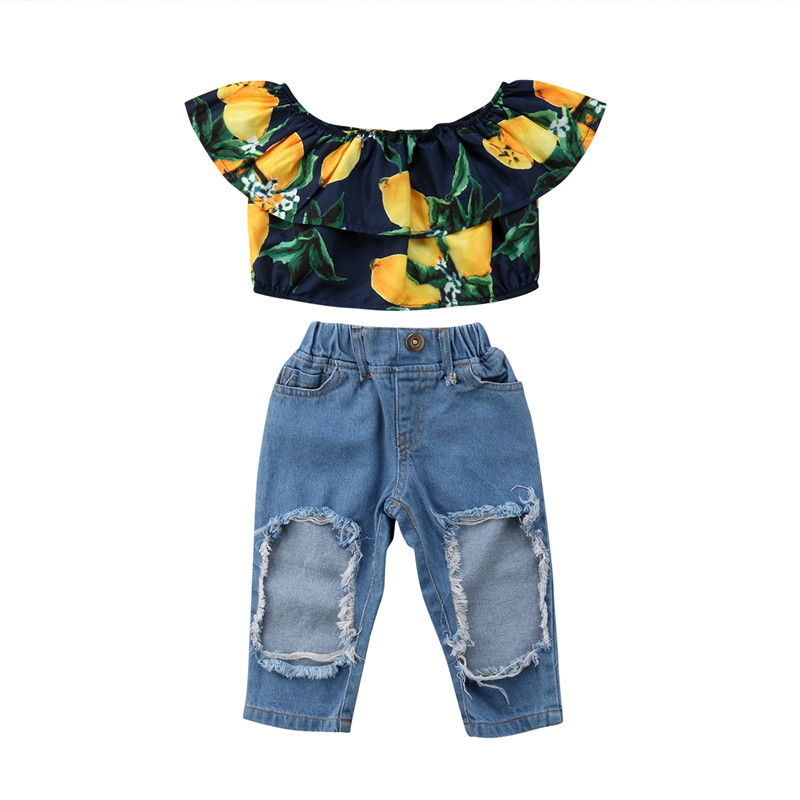 Kids Girls Summer Clothes Set New Baby Girl Off shoulder Lemon Printed Crop Tops+Hole Denim Pants 2Pcs Outfits Kids Clothing Set