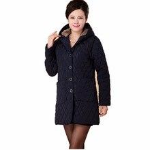 Женщины куртка плюс размер Толстые зимнее пальто длинный женщин среднего возраста с капюшоном хлопка верхняя одежда пожилой мамой мягкий бархат пальто негабаритных
