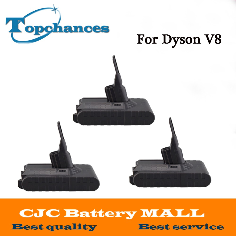 High Quality 3PCS New 21.6V 2800mAh Rechargable Li-ion Battery for Dyson V8 Vacuum Cleaner high quality 21 6v 3000mah rechargable li ion battery for dyson v8 vacuum cleaner