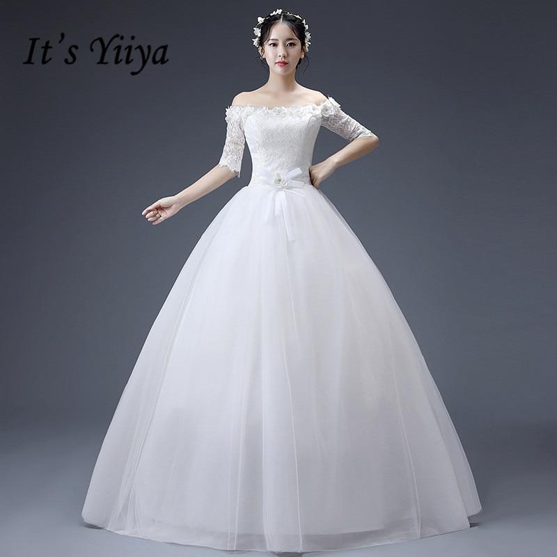 Simple Wedding Dresses Boat Neck: It's YiiYa Boat Neck Floor Length Wedding Dress Appliques