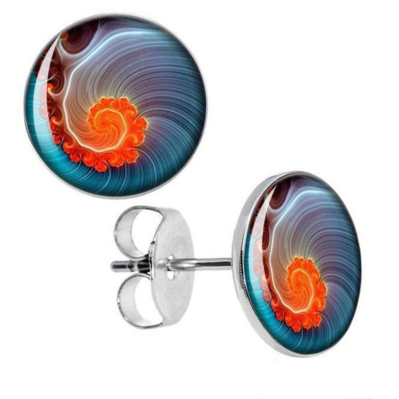 Stainless Steel Swirl Stud Earrings Fake Plugs Diameter 10mm*1.2mm 50pcs/lot