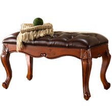Solid Wood Change Shoes Stool European Style Footwear Stool Living Room Sofa Stool Bench Fabric Bed Stool