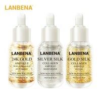 LANBENA 24K Gold+Silver Silk+Gold Silk Collagen Ampoule Serum Anti-Wrinkle Lighten Spots Nourishing Repairing Revitalizing 3PCS Face Care Serum