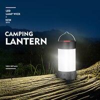 Linterna magnética portátil para acampar, tienda colgante de 5 niveles de brillo, recargable por usb, con batería de 18650