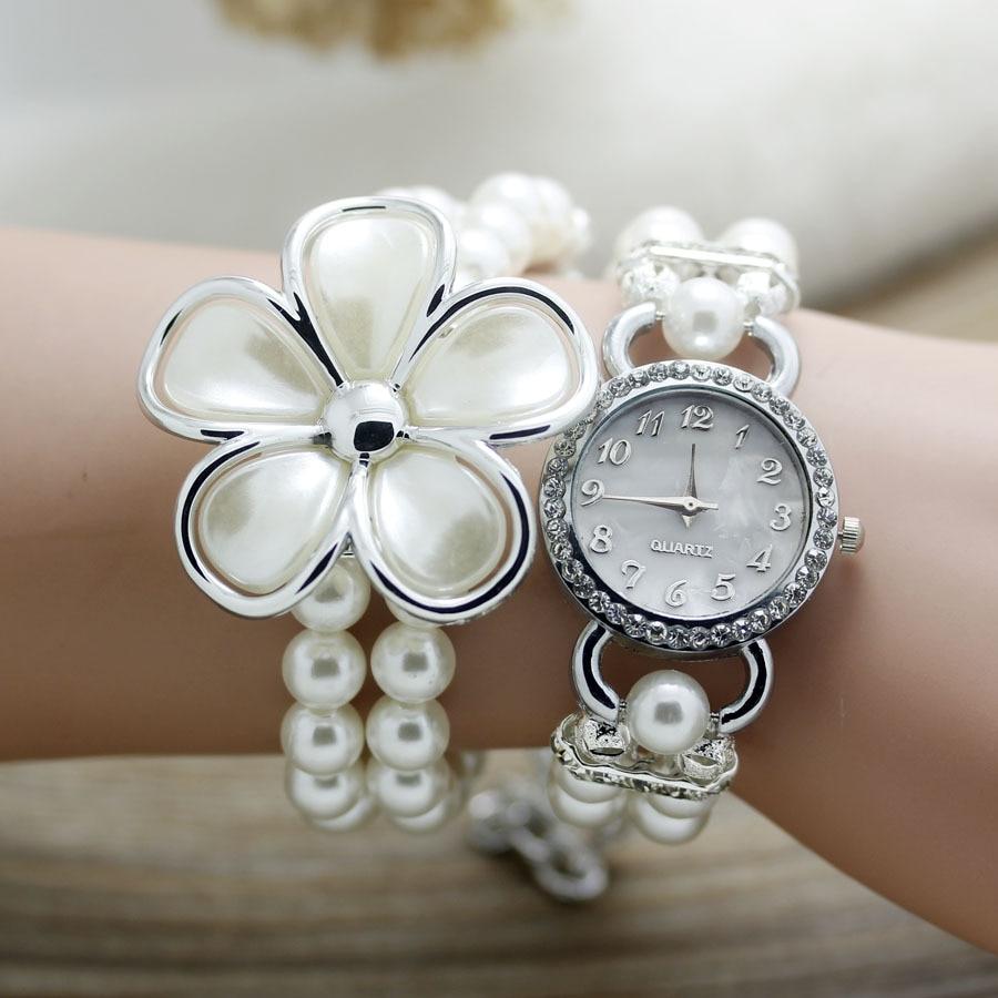 shsby New Fashion Women dress Zegarki Ladies pearl chain biały kwiat - Zegarki damskie - Zdjęcie 4