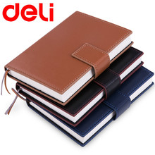 Deli business 25k notepad retro good quality leather notebook a pen simple Planner School Office Stationery Supplies