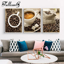 FULLCANG 3pcs diamond embroidery sale hot coffee painting triptych beans full square/round drill mazayka FC910