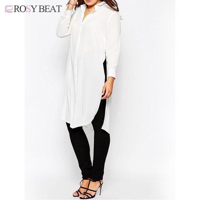 d8797d95e92 Tallas grandes mujer blusas estilo 5XL europea otoño nuevo diseño blusa  larga camisas Solid camisa blanca
