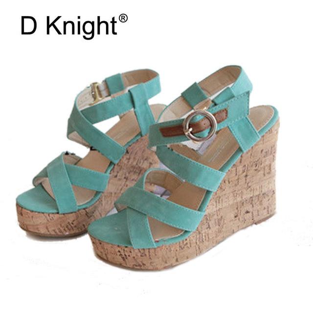 ff690c6529 Fashion Open Toe Platform High Heels Wedges Sandals Ladies Casual High  Heeled Beach Sandals Sexy Cross Strap Gladiator Sandals