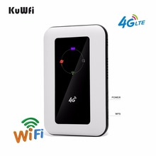 KuWFi 150Mbps 야외 잠금 해제 4G 포켓 와이파이 라우터 2400mAh 배터리 Sim 카드 슬롯 지원 LTE FDD B1/B3 최대 10 사용자