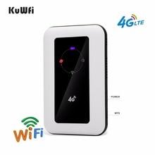KuWFi 150Mbps açık Unlocked 4G cep WiFi yönlendirici 2400mAh pil ile Sim kart yuvası desteği LTE FDD B1/B3 10 kullanıcı