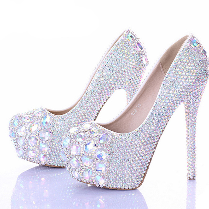 5cdf0d500555 10 12 14cm Stiletto Heel Wedding Shoes Luxury Sparkly AB Crystal Bride  Formal Dress Shoes Platform Rhinestone Party Prom Heels-in Women s Pumps  from Shoes ...