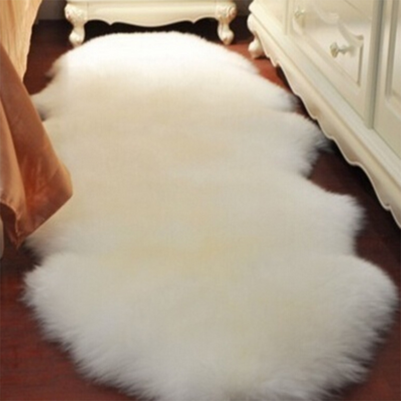 Washable Soft Artificial Rug With Sheepskin Fur Floor Mats