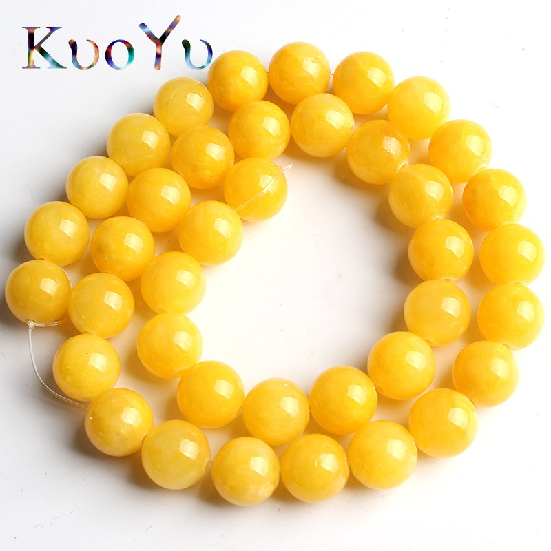 Natural Stone Dark Yellow Cloud Jades Beads Round Loose Bead For Jewelry Making 15