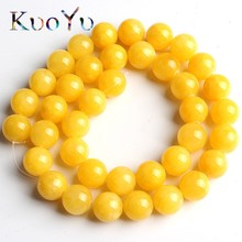 Natural Stone Dark Yellow Cloud Jades Beads Round Loose Bead For Jewelry Making 15Inches 6 8 10 12mm DIY Bracelet Necklace