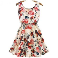Fashion Women New Sleeveless Round Neck Florals Print Pleated Dress Summer Clothing