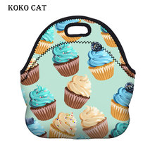 Thermal Insulated 3d Cake Printing Neoprene Lunch Bag Cooler Insulation Lunchbags Women Portable Picnic Box of Meals