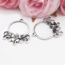 (31521)20PCS 35*27MM Antique Silver Zinc Alloy Round Flower Earrings Connector Charms Diy Jewelry Findings Accessories wholesale недорого