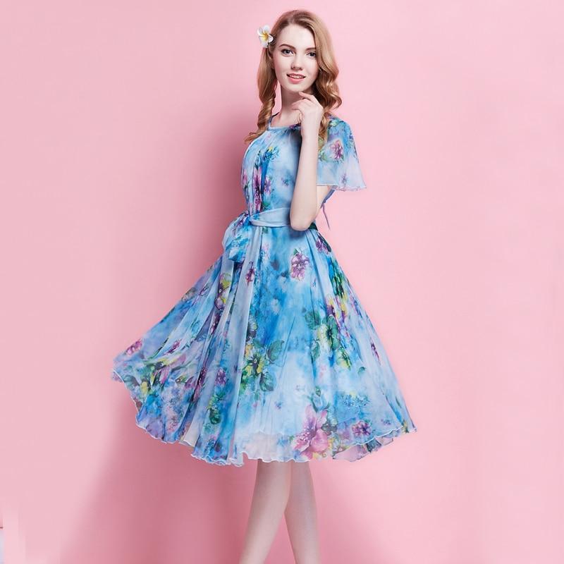Women\'s Summer Floral Printed Chiffon Dress Boho Beach Wedding ...