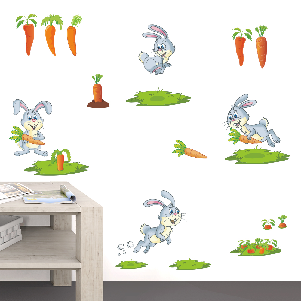 popular rabbit wallpaper buy cheap rabbit wallpaper lots from rabbit looking for carrots funny bunny decor diy poster for kids baby nursery home decal carton