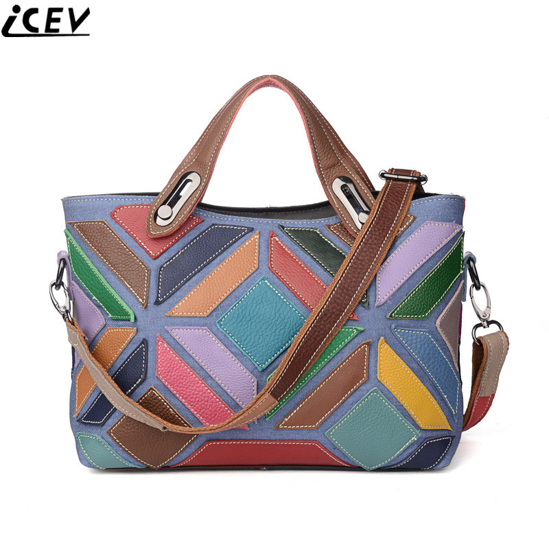 ICEV 100% genuine leather women handbags famous brand fashion patchwork cowhide shoulder bag ladies messenger clutch zipper tote chispaulo women genuine leather handbags cowhide patent famous brands designer handbags high quality tote bag bolsa tassel c165