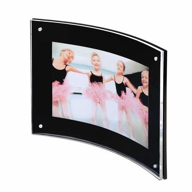 Desk Freestanding 8.5x11 Black Plexiglass Curved Magnet Frame for Signage,Certificate,Diploma or Picture PF034-2