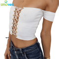 Smoves Sexy Casual Summer Off Shoulder Metal Eyelet Lace Up Bardot Ribbed Crop Tops Women Shorts T-shirts Black White Pink New