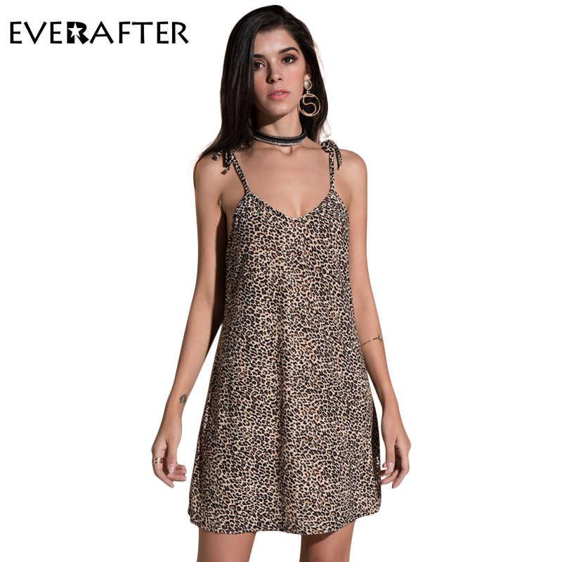 61843161e9e EVERAFTER ремень v шеи платье Женщины леопардовый sexy Свободные спинки  Повседневная Холтер летние платья пляжное платье