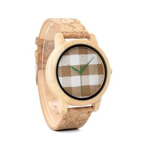 Image 4 - BOBO BIRD WA28 Vintage Round Ladies Bamboo Wood Quartz Watches With Fabric Dial Women Watches Top Brand Pastoralism Watch