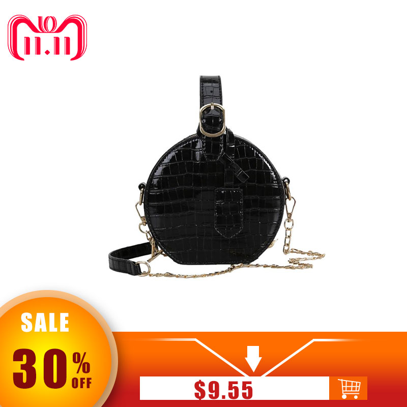 Round Messenger Chain Bag for Women Ladies Stylish PU Leather Shoulder Handbags Girls Solid Casual Shopping Crossbody Bag 2018 stylish women s solid color pleated culotte