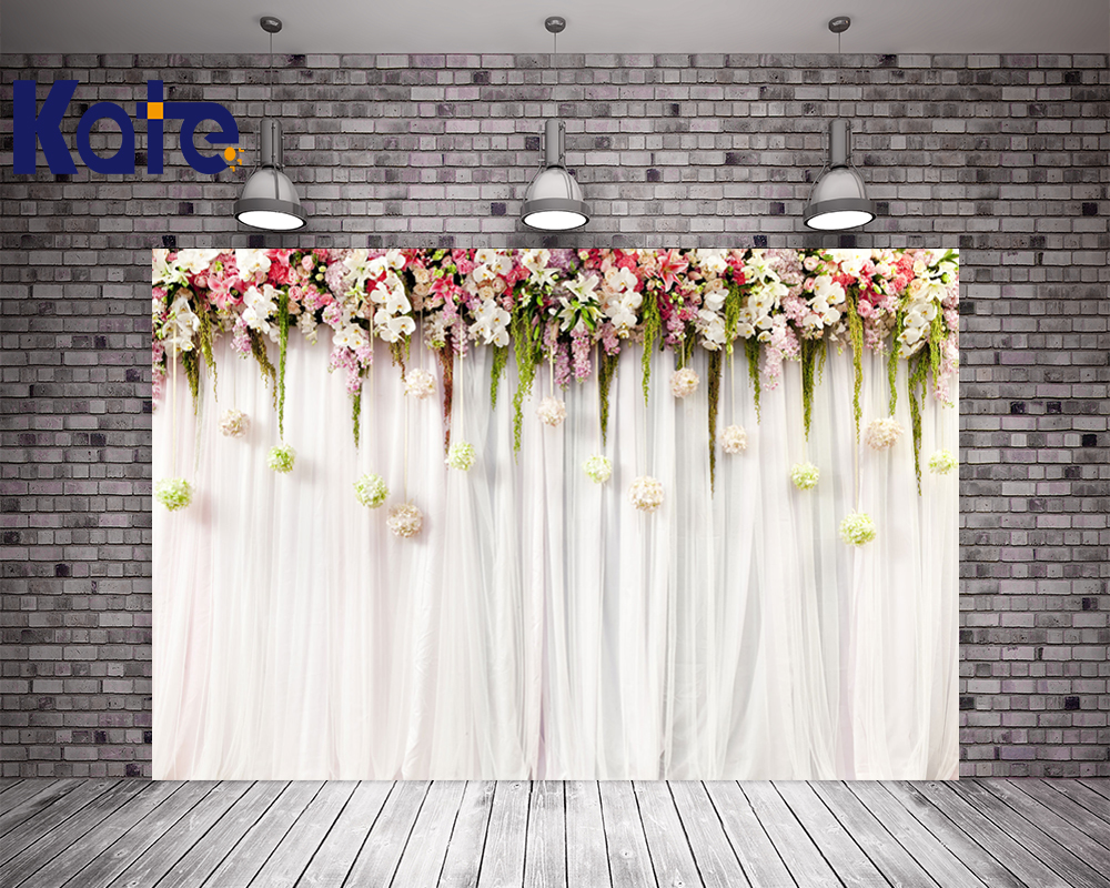 Kate 10x10ft Flower Wedding Party Photo Backdrop White Curtain Cloth Backdrops Washable Microfiber Photographic Background