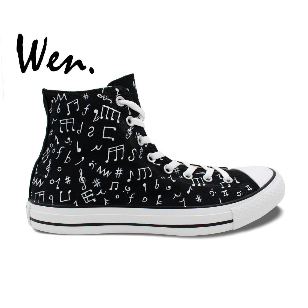Wen Original Design Custom Hand Painted Canvas Shoes Musical Notation High Top Black Sneakers for Unisex Outdoor Sport Shoes