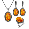 Antique Jewellery Black Rhinestone And Oval Resin Pendant Necklace Sets Silver Plated Vintage Fashion Jewelry Set For Women