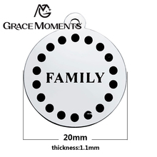 Grace Moments Diameter 20mm High Polishing 316L Stainless Steel Round Disc Charm with Positive Words Letter Charm Making Jewelry