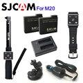 100% original sjcam acessórios bateria m20 selfie vara relógio controle remoto carregador duplo carregador de carro titular para sj cam m20