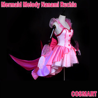 2018 NEW Anime Mermaid Melody Nanami Ruchia Luchia Bright Pink Dress Cosply Costume Uniform Dress Halloween for Girl Women Free